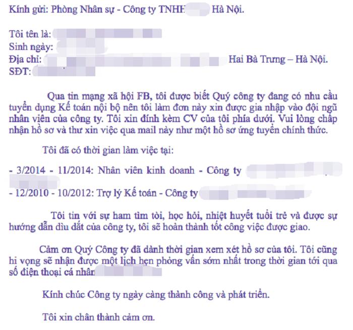 Nội dung email xin việc không được bỏ trống